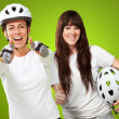 Two Cyclist Woman Showing Thumb Up Sign — Stock Photo