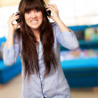Stock Photo: WomWearing Headphone