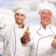 Portrait Of Two Happy Male Chef While Gesturing — Stock Photo