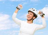 Woman Wearing Helmet Cheering — Stock Photo