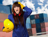 Portrait Of A Young Female Worker — Stock Photo
