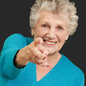Portrait Of Woman Pointing Her Finger — Stock Photo