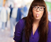 Crazy Woman With Stick Out Tongue — Stock Photo