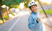 Portrait Of Cyclist Middle Aged Woman — 图库照片