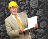 Happy Architect Man Holding Laptop — Stock Photo