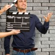 Director Clapping The Clapper Board — Foto de Stock