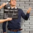 Director Clapping The Clapper Board — Stockfoto