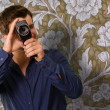 Young Man Holding Camera — Foto de Stock