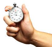 κοντινό πλάνο χέρι που κρατά το χρονόμετρο — Φωτογραφία Αρχείου