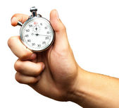 Da vicino della mano che tiene il cronometro — Foto Stock