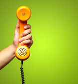 Close Up Of Hand Holding Telephone — Foto de Stock