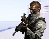 Portrét vojáka pistolí — Stock fotografie