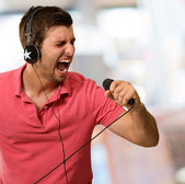 Portrait of a man singing — Stock Photo
