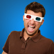 Scared Man Wearing 3d Glasses — Stock Photo #19524275