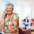 Portrait Of Cheerful Senior Woman With Telephone Headset — Stock Photo