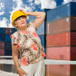 Senior Woman Wearing Hard Hat — Stock Photo #19528073