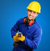 Engineer Holding Drill Machine — Stock Photo