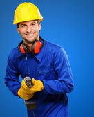 Happy Engineer With Drill Machine — Stock Photo