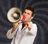 Doctor Shouting In Megaphone And Gesturing — Stock Photo