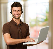 Happy Young Man With Microphone — Stock Photo
