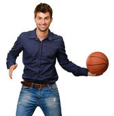 Young Man Holding Basketball — Stock Photo
