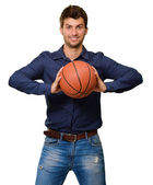 Young Man Throwing Basketball — Stock Photo
