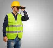 Architect Man Looking Through Binoculars — Stock Photo