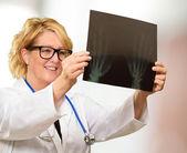Female Doctor Examining X-ray Report — Stock Photo