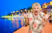 Portrait Of Shocked Senior Woman — Stock Photo