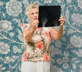 Senior Woman Holding X Ray Report — Stock Photo