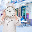 Foto Stock: Portrait Of A Chef Holding Wallclock