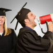 Graduate Student Holding Megaphone And Certificate — Stock Photo