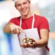 Portrait Of A Happy Man Holding Bell — Stock Photo