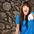 Woman screaming and pointing finger — Stock Photo