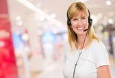Happy Woman On Headset — Stock Photo