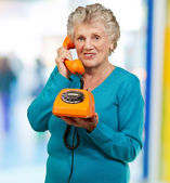 Mature Woman, Talking On Telephone — Stock Photo