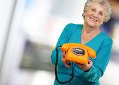 Mature Happy Woman Holding Telephone — Stock Photo