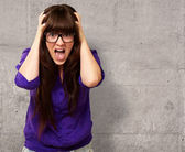Frustrated Woman With Mouth Open — Stock Photo