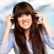 Woman Wearing Headphone — Stock Photo