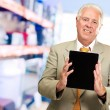 Mature Man Holding Digital Tablet  — Stock Photo
