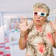 Afraid Senior Woman Watching 3d Movie — Stockfoto
