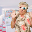Afraid Senior Woman Watching 3d Movie — Stock fotografie