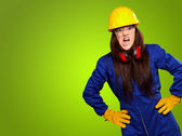 Woman Worker With Helmet — Stock Photo