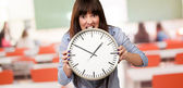 A Young Girl Holding A Clock And Angry — Stock Photo