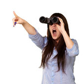Portrait Of A Young Woman Looking Through Binoculars — Stock Photo