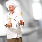 Potrait Of Chef While Holding Spoon — Stock Photo