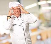 Portrait Of A Chef Having Headache — 图库照片