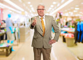 Happy Business Man Showing Thumb Up Sign — Stock Photo