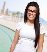 Portrait Of A Young Girl Wearing Specs — Stock Photo