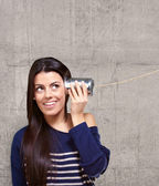 Female Holding A Metal Tin As A Telephone — Stock Photo